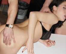 Candy brunette chick tackles two steely peckers