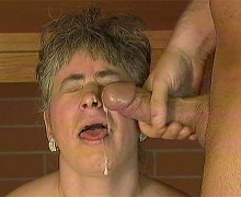 Toothless granny received large cumshot on her ugly face