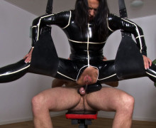 Hanging woman squirts a lot