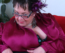 Fat huge breasted granny playing all by herself