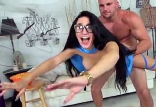Bespectacled brunette teen Cyrstal Rae fucked with big cock