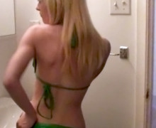 Hot french blonde shaking her shape ass in front of camera