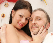 Busty young brunette gets fucked by an old guy