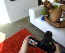 First person perspective behind the scenes of Skin Diamond