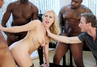 He enjoys watching his GF Summer Day fucked by three back guys