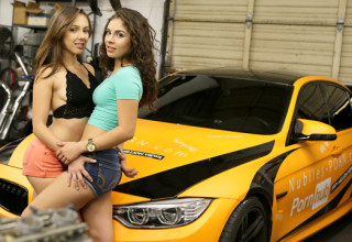 Hot babes love race cars