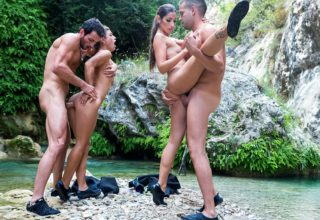 Julia Roca and Clea Gaultier in foursome on the brook