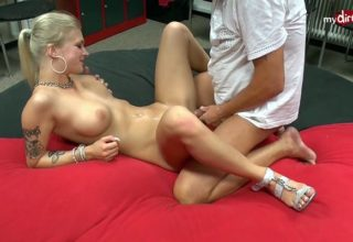Stunning blonde Kathi Rocks fucks in locker-room