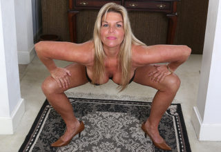 Naked stretching with horny American housewife