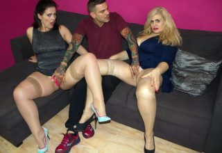 Mature Spanish sluts Montse Swinger and Musa Libertina having threesome with tattoed dude