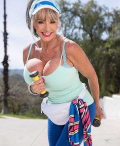 Busty granny Sally D'Angelo outdoor training