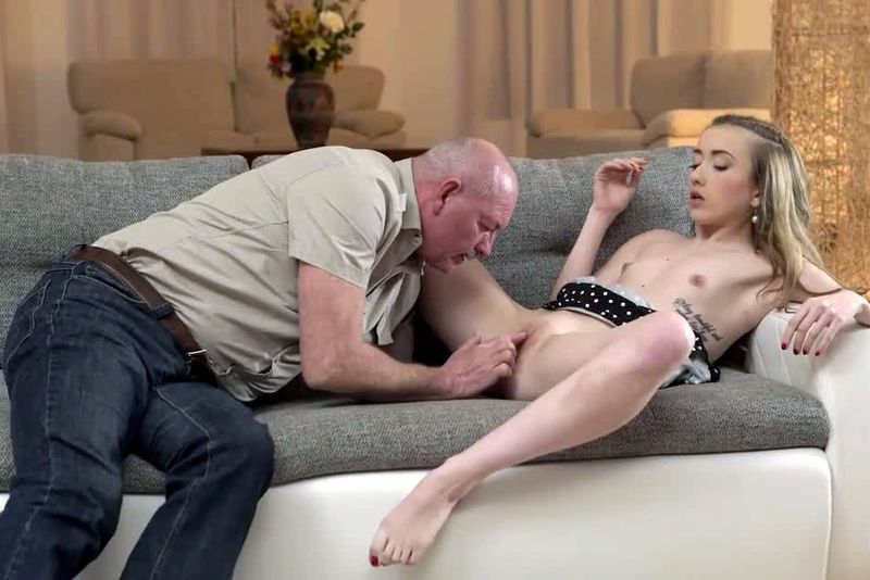 Flat chested cutie Jessi Empera fucked on sofa by older guy. Red porn vids