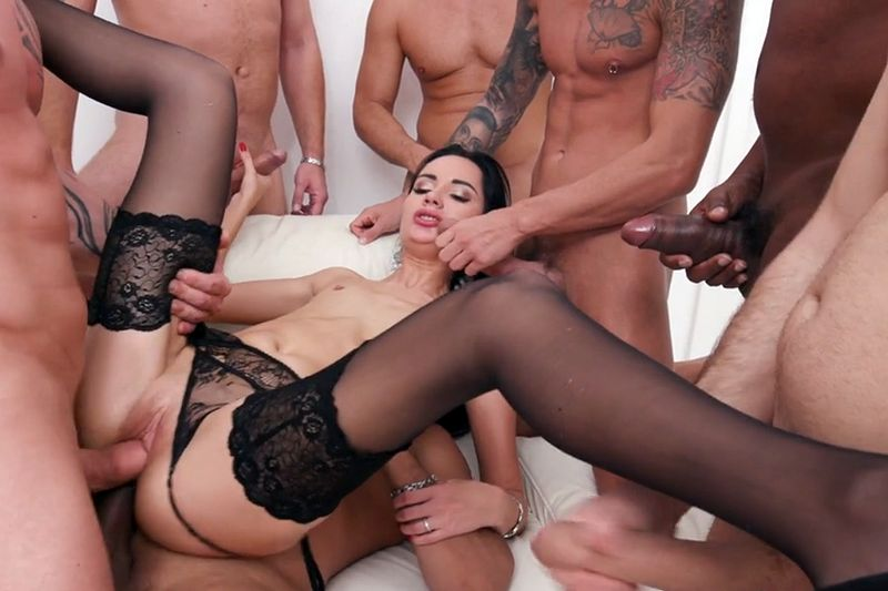 Absolute flat brunette Megan Venturi fucked by seven hunks. Free red porn vids