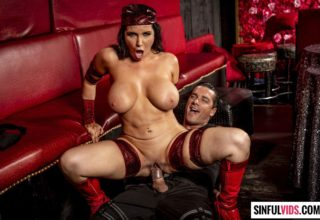 Curvy brunette Romi Rain blows and fucks in Deadpool XXX
